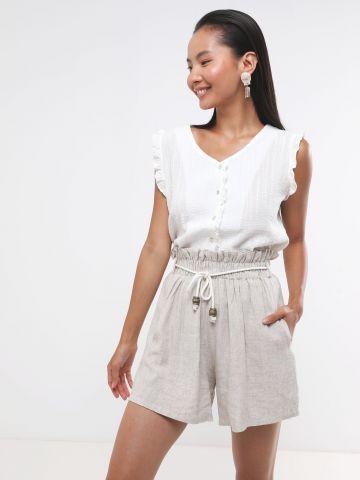 מכנסי פייפרבאג קצרים עם חגורת קשירה בשילוב חרוזים