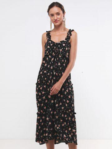 שמלת מידי בהדפס פרחים עם כתפיות מלמלה SABINA MUSAYEV