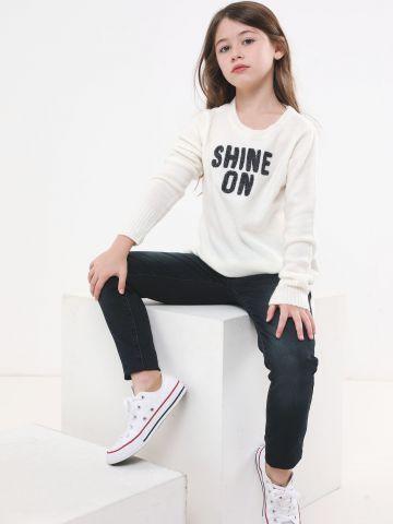 סריג עם כיתוב רקום Shine On
