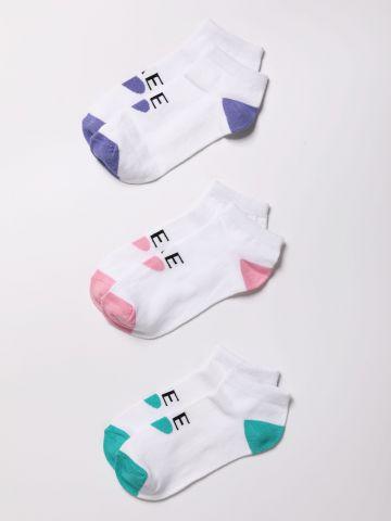 מארז 3 זוגות גרביים נמוכים שני צבעים ולוגו / נשים