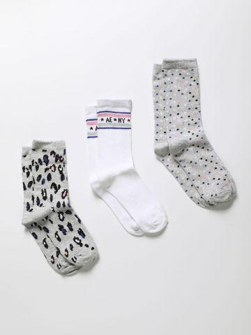 מארז 3 זוגות גרביים גבוהים בהדפסים שונים / בנות