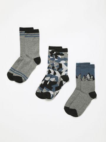 מארז 3 זוגות גרביים בהדפסים שונים / בנים