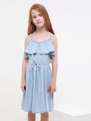 שמלת מיני קולד שולדרס עם קשירה במותן