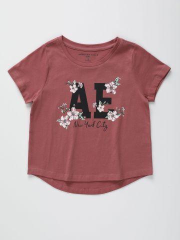 טי שירט עם הדפס לוגו פרחים / בנות