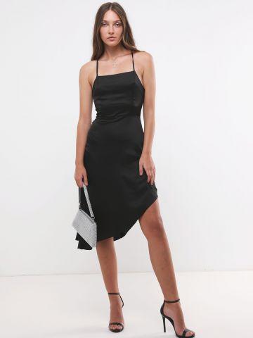 שמלת מידי סאטן אסימטרית