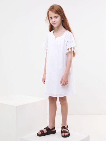 שמלת מיני בדוגמת רקמה עם פרנזים