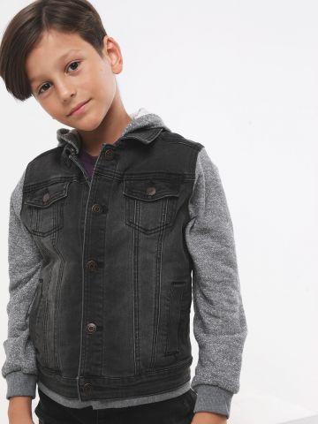 ג'קט ג'ינס עם כובע קפוצ'ון וכיסים