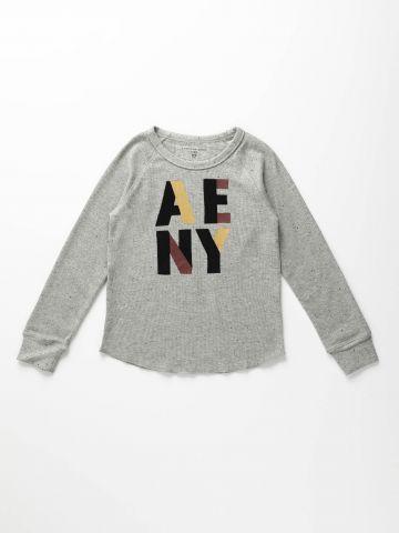 חולצת וופל עם הדפס לוגו קטיפה / בנים של AMERICAN EAGLE