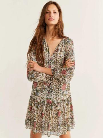 שמלת מיני בהדפס פרחים עם שרוולים ארוכים