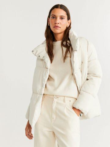 מעיל קווילט עם כפפות תואמות נלוות