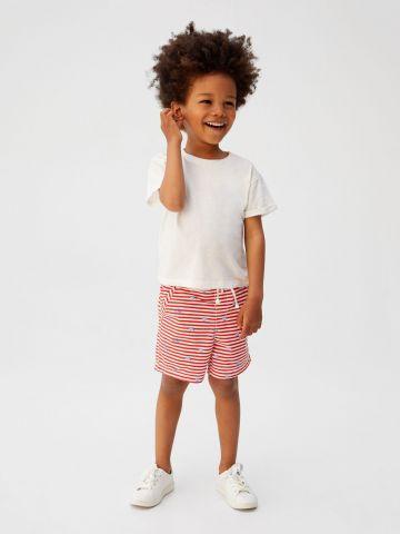 מכנסי ברמודה בהדפס פסים עם גומי מותן