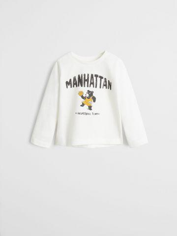 טי שירט שרוולים ארוכים עם הדפס Manhattan / בייבי בנים