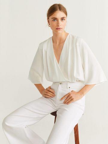 בגד גוף בסגנון מעטפת וי עם עיטורי רקמה / נשים