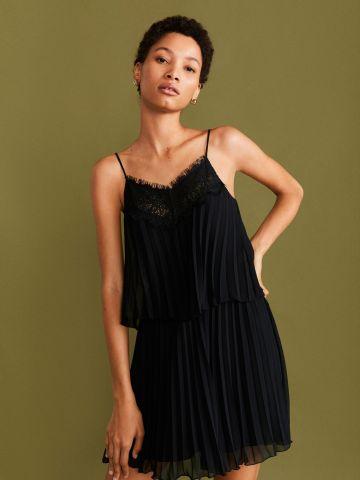 שמלת מיני פליסה עם תחרה / נשים