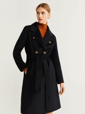 מעיל צמר לונגליין עם חגורה