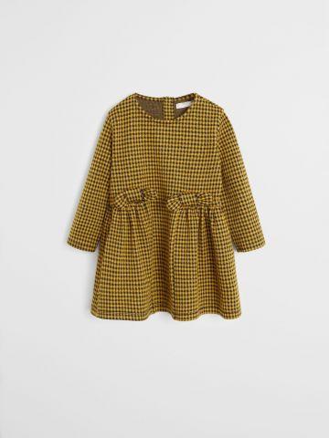 שמלת משבצות עם פפיון / 9M-4Y