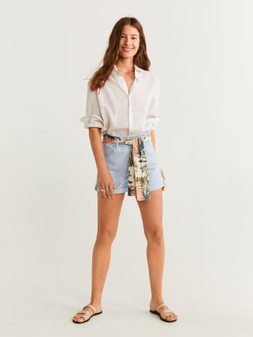 ג'ינס קצר עם מטפחת קשירה