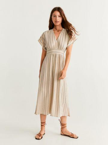 שמלת מידי בהדפס פסים עם פתח בגב וקשירה