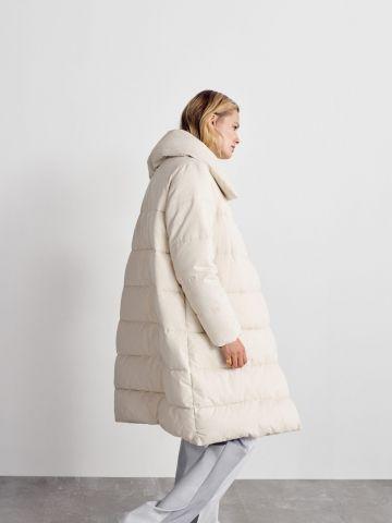 מעיל קווילט ארוך עם כפתורים/ נשים