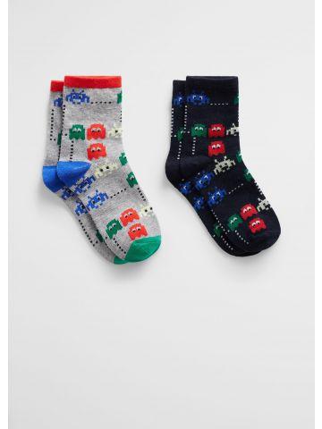 מארז 2 זוגות גרביים בהדפס פקמן / בנים