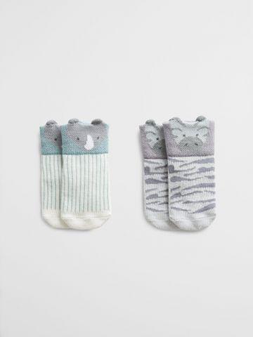 מארז 2 זוגות גרביים בהדפס חיות / 1M-3Y