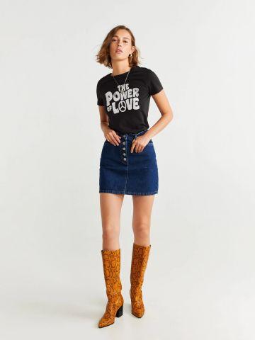 חצאית ג'ינס מיני עם כפתורים