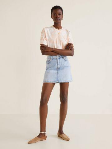 חצאית ג'ינס מיני בשטיפה בהירה