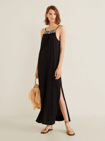 שמלת מקסי ישרה עם עיטורי רקמה