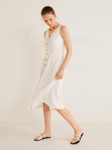 שמלת מידי פשתן עם כפתורים