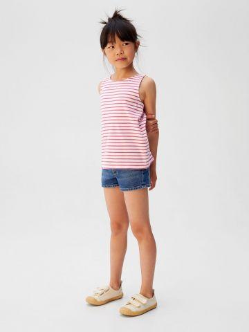 גופייה בהדפס פסים עם פתח בגב / בנות
