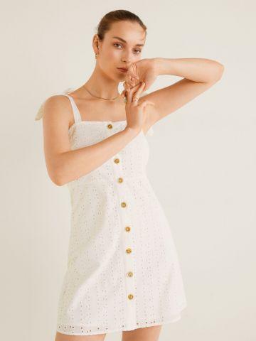 שמלת מיני עם עיטורי רקמה וכפתורים
