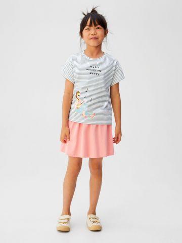 חצאית מיני עם שרוך קשירה / בנות