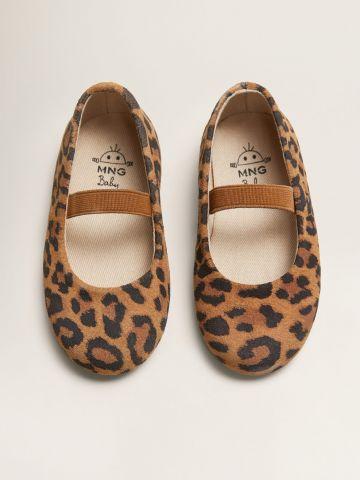נעלי בובה עור בהדפס מנומר / בנות