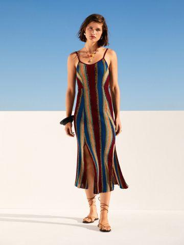 שמלת סריג מידי בהדפס פסים