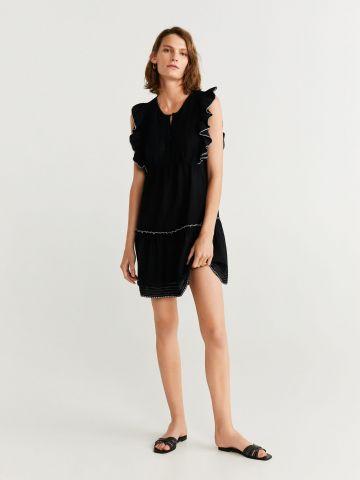 שמלת מיני עם שרוולי מלמלה קצרים