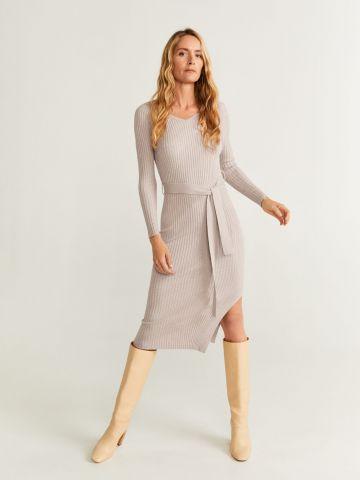 שמלת מידי ריב עם חגורת קשירה