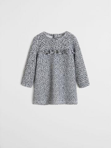 שמלה בהדפס מנומר עם עיטורי מלמלה / 9M-4Y
