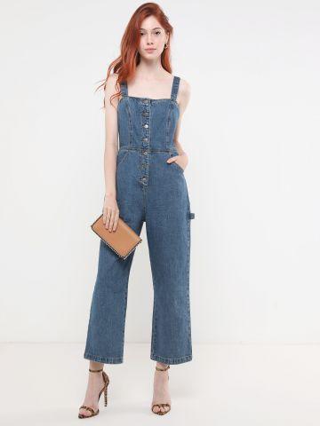 אוברול ג'ינס ארוך עם כפתורים