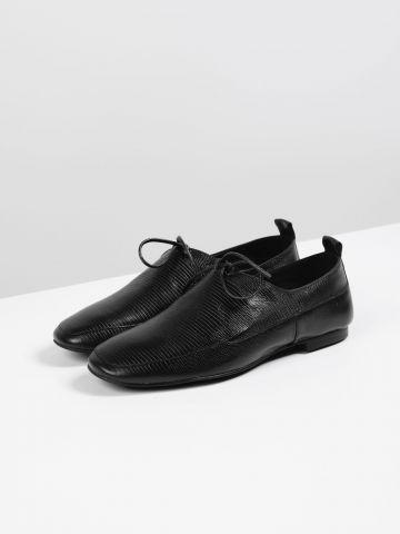 נעלי אוקספורד עור עם קשירה