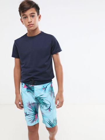 מכנסי בגד ים בהדפס עלים טרופיים