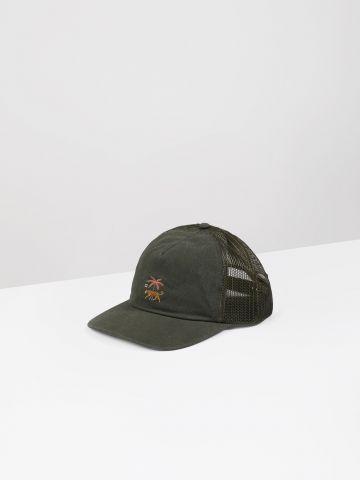 כובע מצחייה עם רקמת לוגו בשילוב נמר / גברים