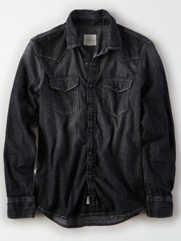 חולצת ג'ינס מכופתרת עם כיסים / גברים