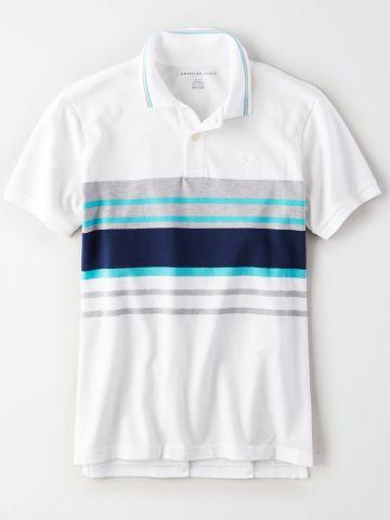 חולצת פולו עם הדפס פסים / גברים