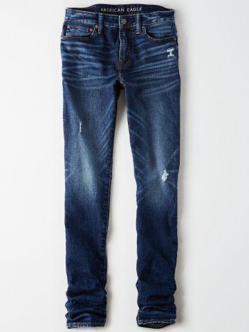 ג'ינס ארוך בשטיפה כהה עם קרעים / גברים