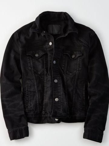 ג'קט ג'ינס בשטיפה כהה עם שפשופים / גברים