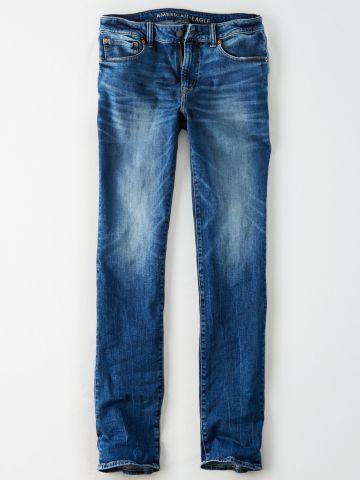 ג'ינס Slim Straight בשטיפה כהה עם הלבנה / גברים