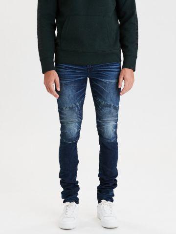 ג'ינס סקיני בשטיפה כהה עם הלבנה Skinny