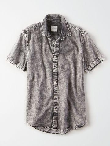 חולצה מכופתרת אסיד ווש / גברים