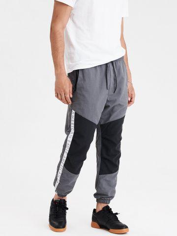מכנסי ניילון קולור בלוק