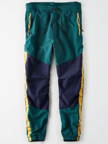 מכנסי ניילון קולור בלוק / גברים